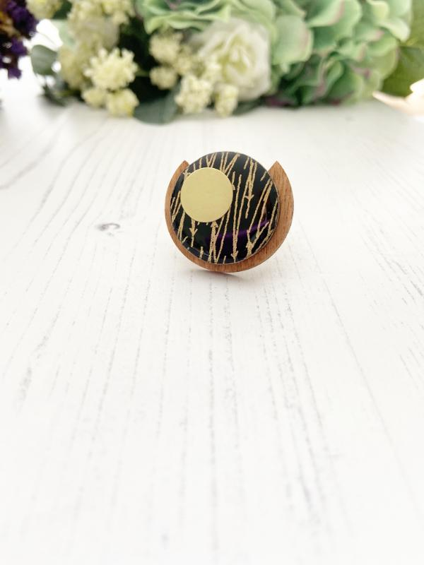 Handmade Unique Wooden Ring in Black & Gold