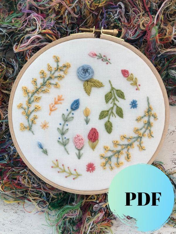 botanical hand embroidery PDF pattern