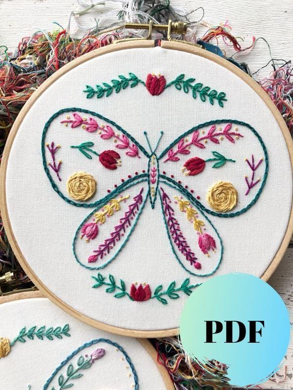 Colourful Butterfly Embroidery PDF Pattern