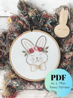 Bunny Hand Embroidery PDF Pattern with 2 Bonus Patterns!