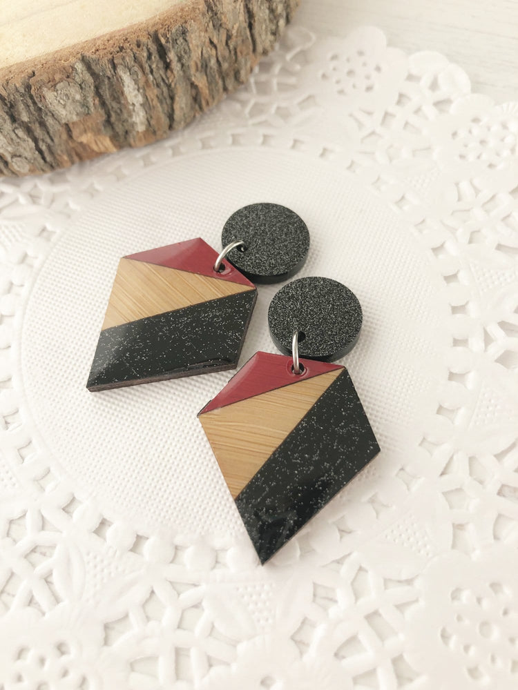 Black & Red Laser Cut Earrings