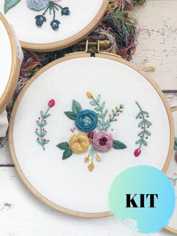 hand embroidery floral kit for beginners