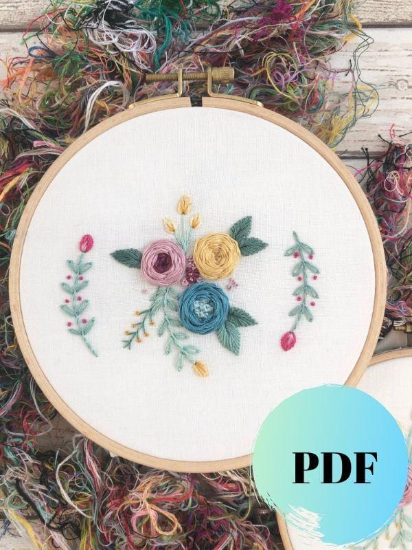 floral hand embroidery pdf pattern