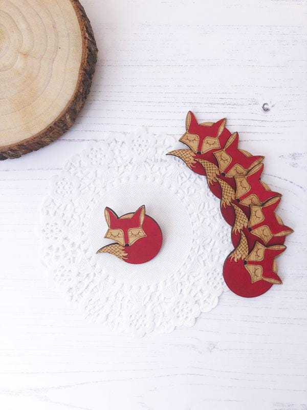 Sleeping Fox Hand Painted Wooden Brooch
