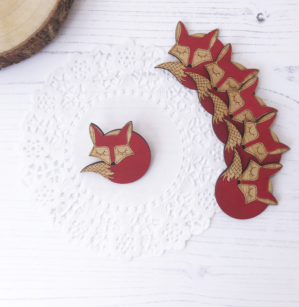 Sleeping fox hand painted wood brooch