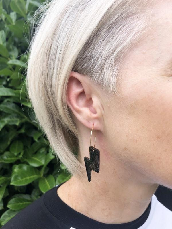 lighting bolt hoop earrings