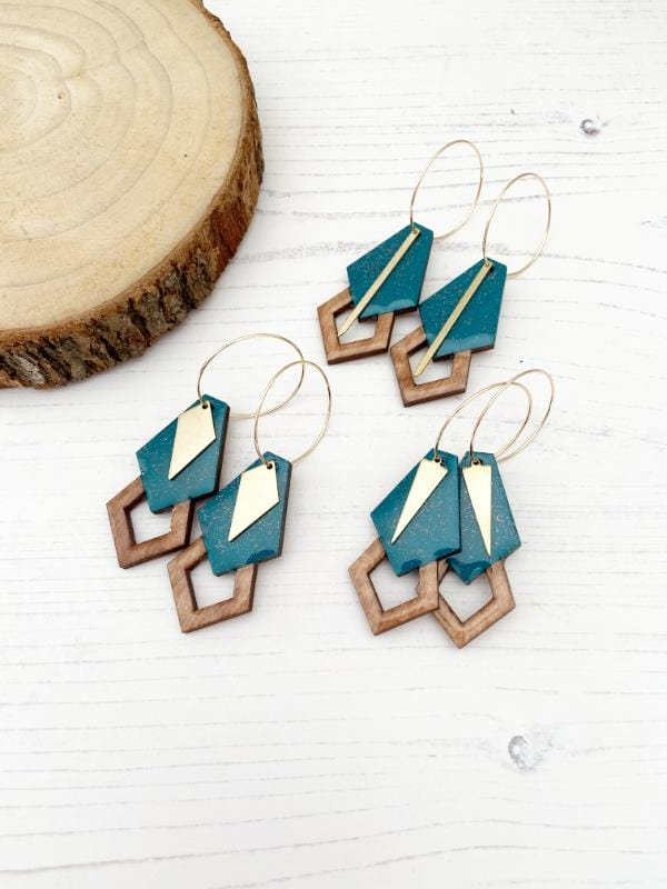 geometric earrings in green