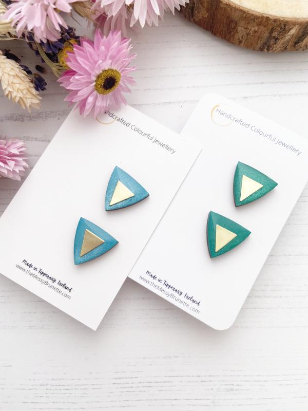 Triangle Studs | Metallic Blue & Green Triangle Stud Earrings