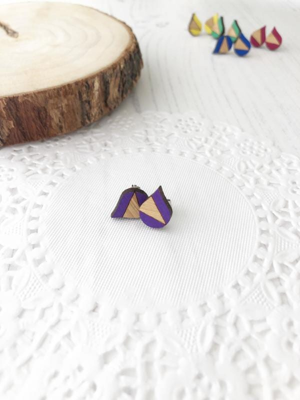 bright colourful everyday stud earrings in purple