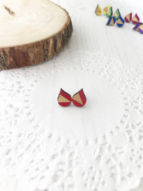 bright everyday stud earrings in red