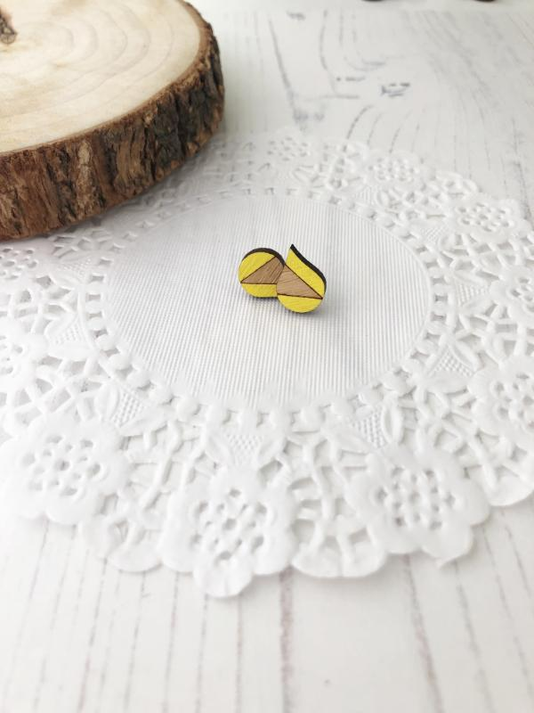 bright colourful everyday stud earrings in yellow