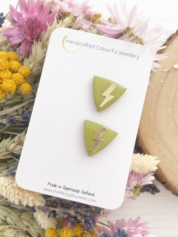 Triangle Studs | Olive Green Triangle Studs