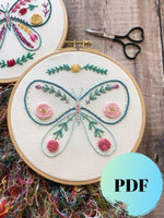 Butterfly Hand Embroidery PDF Pattern for Beginners