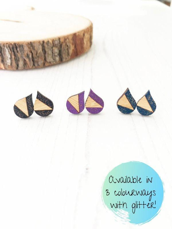 Small Geometric Raindrop Stud Earrings