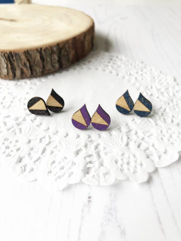 small geometric raindrop stud earrings in various colours