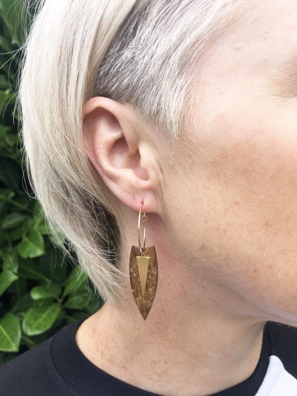Small Wood Dangle Hoop Earrings