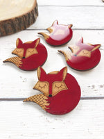 hand painted laser cut wood sleeping fox brooch