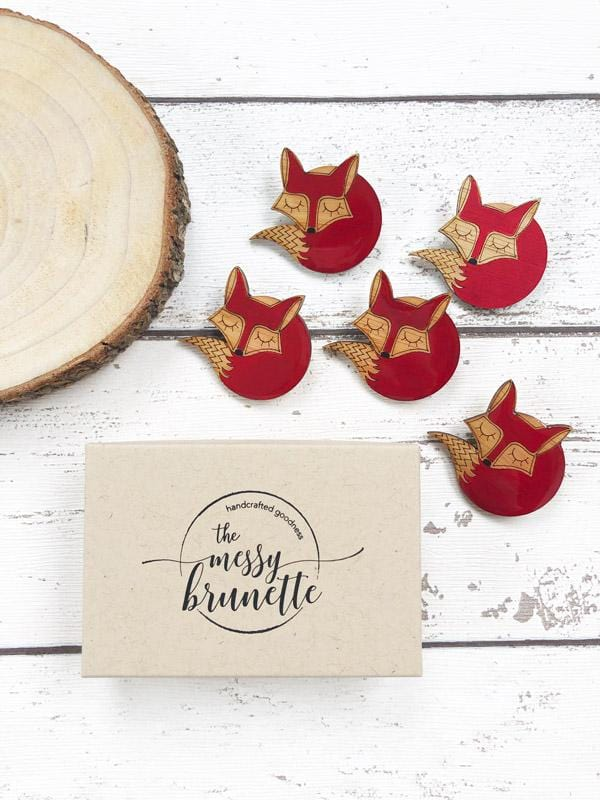 hand painted laser cut sleeping fox brooch