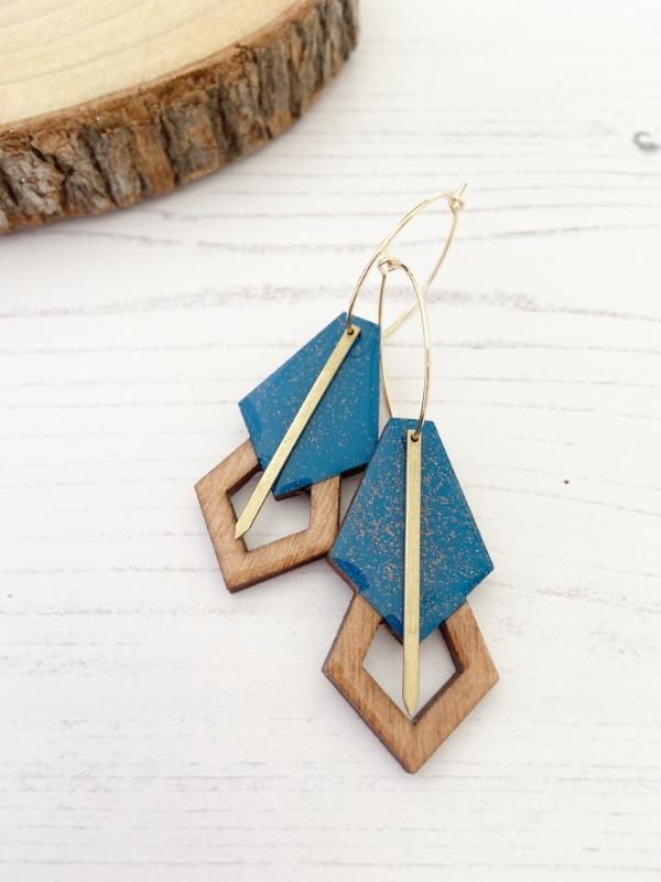 handmade gatsby wood hoop earrings in blue