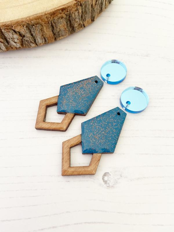 handmade Gatsby wood earrings in blue