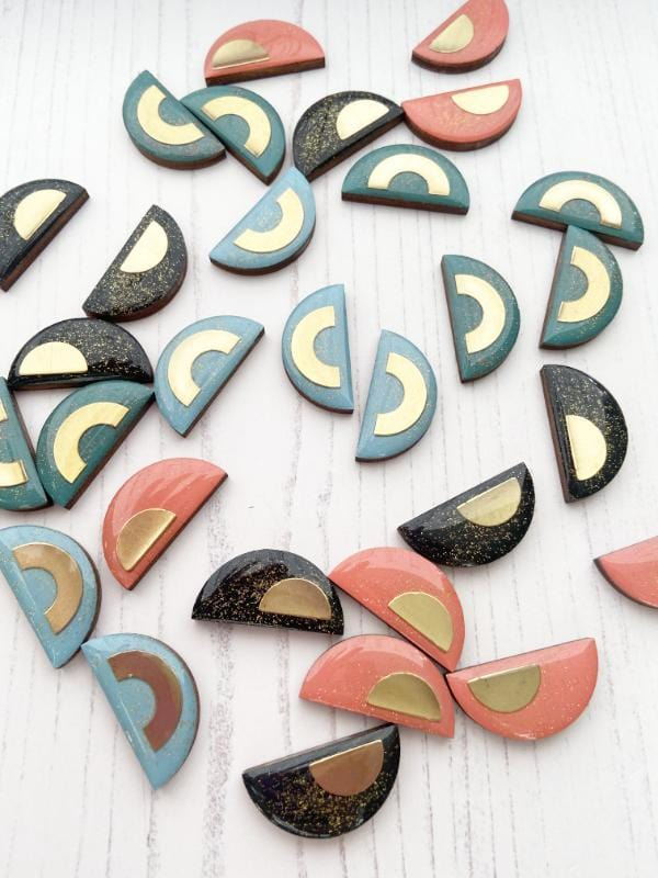 Large Studs, handmade with FSC birch and painted in various colours such as sky Blue, coral, glitter black and teal green