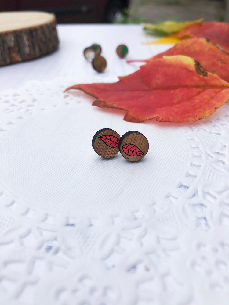 Wooden Leaf Stud Earring hand painted in various colours