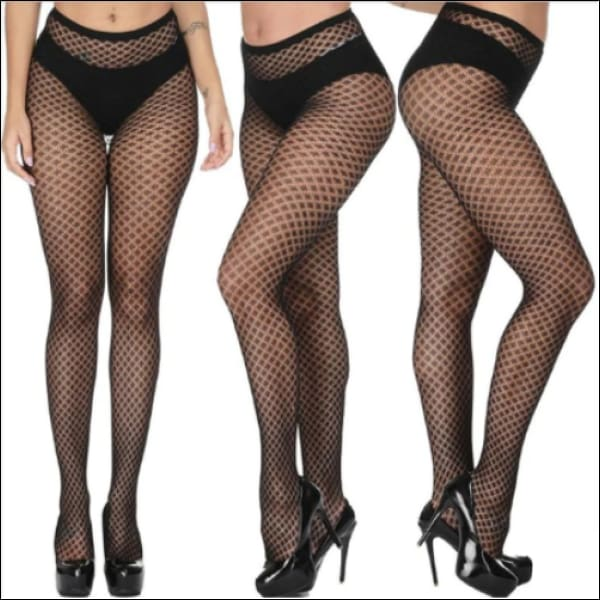 Collants Sexy Semi Transparents Taille Haute Motifs Losanges