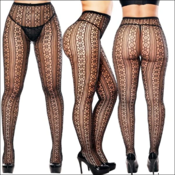 Collants Sexy Semi Transparents Taille Haute Motifs Napperons