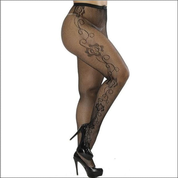 Collants Sexy Semi Transparents Taille Haute Motifs Roses