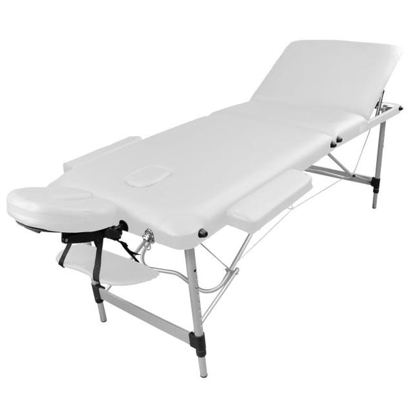 Table pliante de massage blanche 3 zones en aluminium