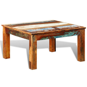 Table basse ancienne en bois 80x80 multicolore