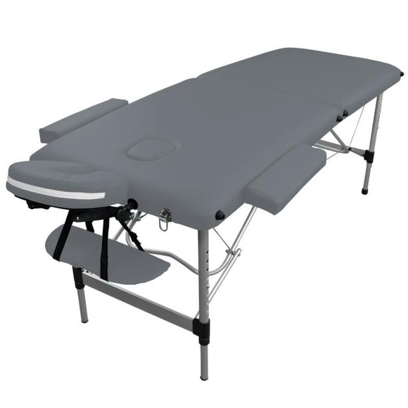 Table pliante de massage grise 2 zones en aluminium