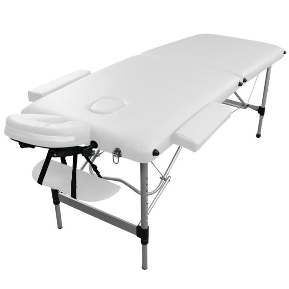 Table pliante de massage blanche 2 zones en aluminium