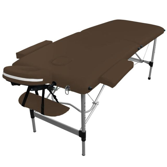 Table pliante de massage marron foncé 2 zones en aluminium