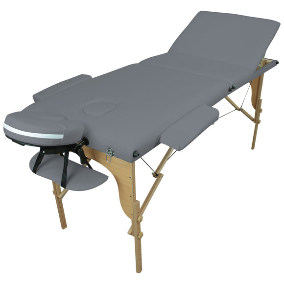 Table pliante thérapeutique de massage grise 3 zones