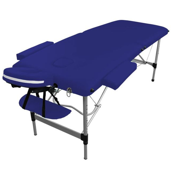 Table pliante de massage bleu azur 2 zones en aluminium