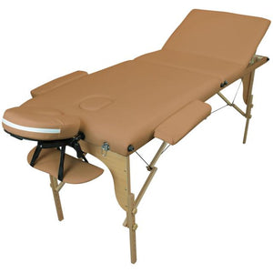 Table pliante thérapeutique de massage marron clair 3 zones