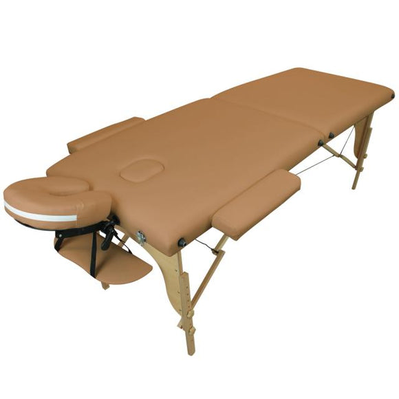 Table pliante thérapeutique de massage marron clair 2 zones