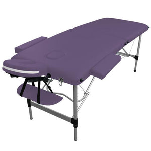 Table pliante de massage violette 2 zones en aluminium
