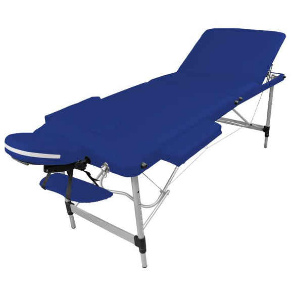 Table pliante de massage bleu azur 3 zones en aluminium