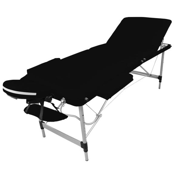 Table pliante de massage noire 3 zones en aluminium