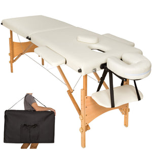 Table pliante thérapeutique de massage beige 2 zones
