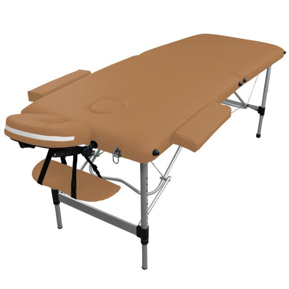 Table pliante de massage marron clair 2 zones en aluminium