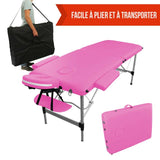 Table pliante de massage rose 2 zones en aluminium