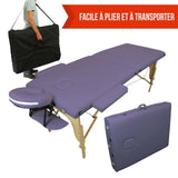Table pliante thérapeutique de massage violette 2 zones