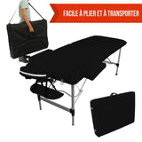 Table pliante de massage noire 2 zones en aluminium