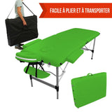 Table pliante de massage verte 2 zones en aluminium