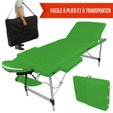 Table pliante de massage verte 3 zones en aluminium