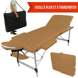 Table pliante de massage marron clair 3 zones en aluminium