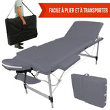 Table pliante de massage grise 3 zones en aluminium